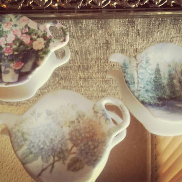 Vintage Melamine Italy Tea Bag Holders Shabby Chic Set