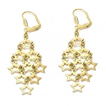Gold Layered 02.63.2195 Chandelier Earring, Star Design, Polished Finish, Gold Tone