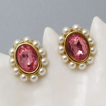 Pink Rhinestone Earrings Pearls Vintage Napier Jewelry E7302