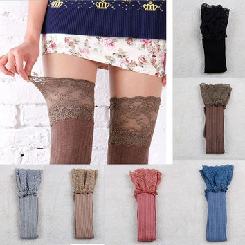 Women Knitting Lace Cotton Over Knee Thigh Stockings High Socks Pantyhose Tights [8389940801]