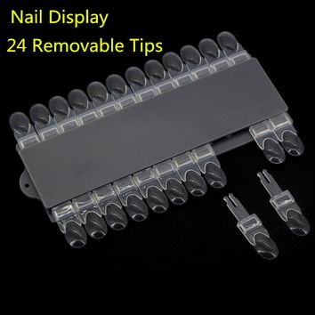 New Nail Polish Color Display Sticks on Board (24 Removable Tips) Display Rack Manicure Nail Color Chart Tools