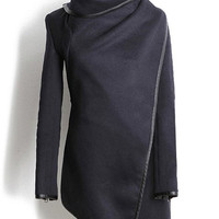 Cadetblue Turtleneck Long Sleeve Coat