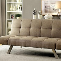 Arleen Contemporary Sofa Futon With Chrome Legs, Light Brown
