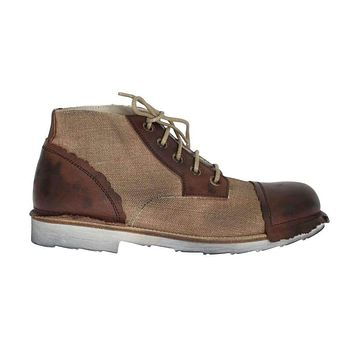 Dolce & Gabbana Brown Leather Linen Ankle Boots