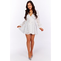 Why Would I Lace Bubble Sleeve Dress (Off White)