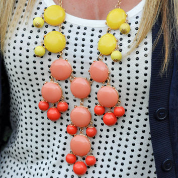 SALE New Yellow Coral Ombre Bubble Bib Statement Necklace SALE 34.00 Similar to JCrew FAST shipping
