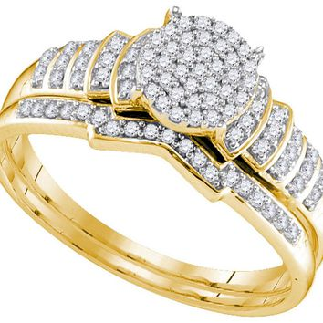 Yellow-tone Sterling Silver Womens Round Diamond Cluster Bridal Wedding Engagement Ring Band Set 1/4 Cttw