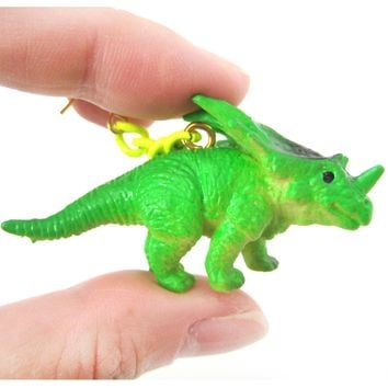 Triceratops Dinosaur Animal Figurine Shaped Dangle Earrings in Green