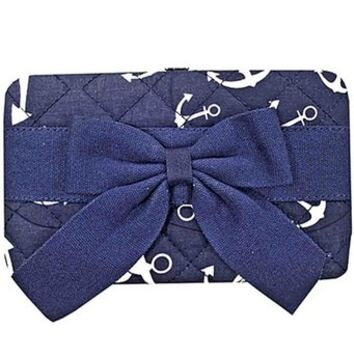 Anchor Print w/ Bow Quilted Flat Wallet Clutch Purse Nautical Navy Blue