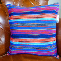 Decorative Throw Pillow Cover 18 x 18  - Authentic Ghanaian Kente Cloth