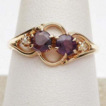 9kt Synthetic Purple Stone and Seed Pearl Ring