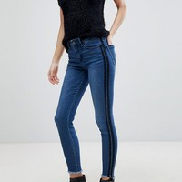 Stradivarius Double Side Stripe Skinny Jean at asos.com
