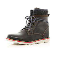 River Island Boys brown lace up worker boots
