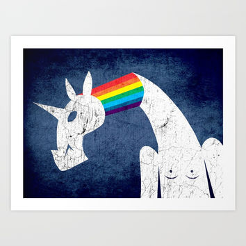 Rainbow Filled Unicorn Art Print by That's So Unicorny