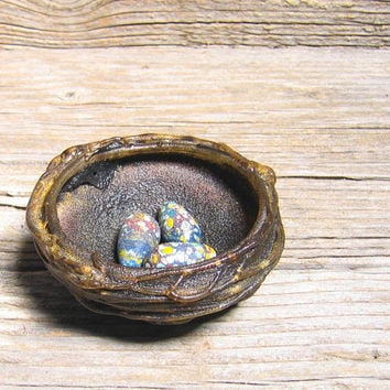 Bird Nest with Eggs - Brown with Blue Colorful Eggs - French Country Woodland Rustic Nature Art