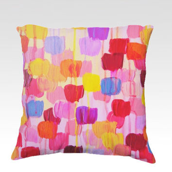 DOTTY IN PINK Fine Art Velveteen Throw Pillow Cover 18 x 18 Abstract Pretty Pink Red Yellow Polka Dot Tulips Modern Dorm Home Decor Painting