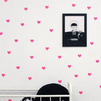 45pcs sheet Art Little Mini Hearts Wall Stickers Wall Decals Removable Home Bedroom Bathroom Decoration DIY For Kids Room Decor