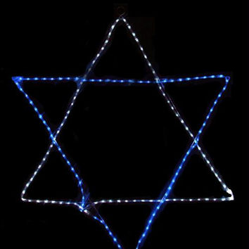 Rope Light Hanukkah Decoration - Blue And Pure White Led Lights