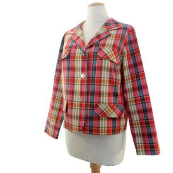 Vintage 1960s Jacket Red Blue Madras Plaid Lightweight Sporty Large