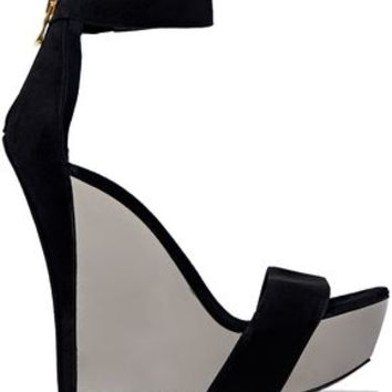 Suede wedge sandals | BALMAIN | Sale up to 70% off | THE OUTNET