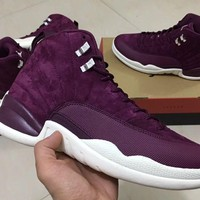 "¡¾FREE SHIPPING¡¿Air Jordan 12 ""Bordeaux"" Code 130690-617 Maroon Heiress Silver Sail"