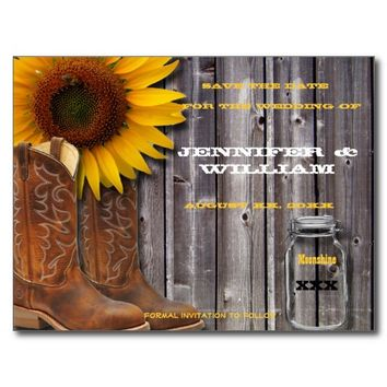 Country Western Rustic Save the Date Post card