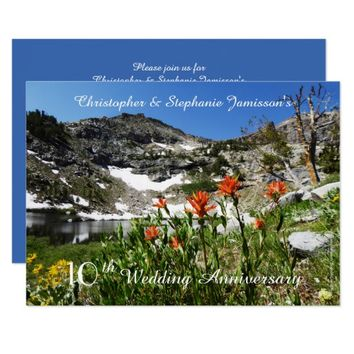 10th Wedding Anniversary Invitation, Wildflowers Invitation