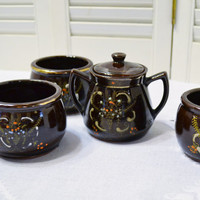 Vintage Redware Sugar Bowl and Cups Chocolate Brown Floral Design Japan PanchosPorch
