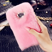 KISSCASE Luxury Rabbit Fur Hair Phone Cases For Samsung Galaxy A3 A5 A7 J2 J3 J5 J7 2016 Fashion Bling Diamond Back Cover Cases