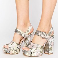 New Look Botanical Brocade Platform Heel Sandal at asos.com