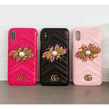 GUCCI Fashion Women Cute Bees Crystal Mobile Phone Case iphone 6 6plus iphone 7 7plus iphone 8 8plus iphone X Phone Shell I12485-1