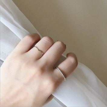 ONETOW Ripple simple combination ring, women's new thin ring ring