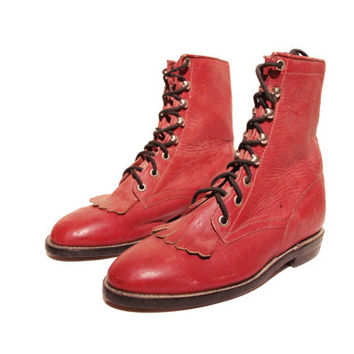 Red Kiltie Lacer Leather  Boots - Red Ankle Boots - Women Size 5.5 B