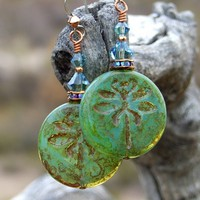Dragonfly Earrings, Rustic Olive Green Picasso Swarovski Handmade Designer Jewelry