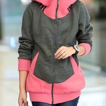 DCCKIX3 Winter Women Casual Hooded Zipper Flannel Hoodies Coat (For Choose:4 Color 5 Size) = 1920344004