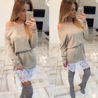 autumn winter womens lace patchwork dress loose comfortable dress gift 50