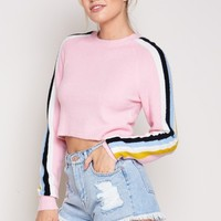 Furry Color Lines Sweater in Pink
