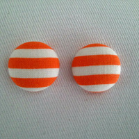 Orange and white striped button earrings