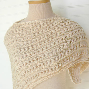 Knit Lace Shawl in Cream / Wedding Bridesmaids by WindyCityKnits