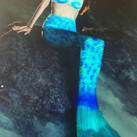 Blue Mermaid Tails for Swimming Bikini Set
