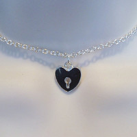 Silver and Black Enamel Heart Charm submissive Day Collar necklace for BDSM sub/slave