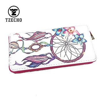 TZECHO Zipper Around Womens Wallets Leather Print Dream Catcher Ladies Long Femal Purse Coin Pocket Credit Card Phone Clutch Bag