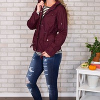 Plaid Hooded Jacket- Wine