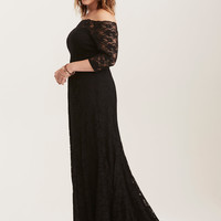 Special Occasion Black Lace Off Shoulder Gown