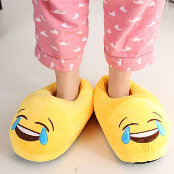 New Arrive Men And Women Emoji  Shoes Yellow Cotton Plush Emoji Slippers Creative Funny Home Soft Shoes