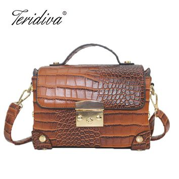 Teridiva Vintage Crocodile Handbags Retro Women Messenger Bags Alligator Box Bag Crossbody Shoulder Bags Small Handbag Purse