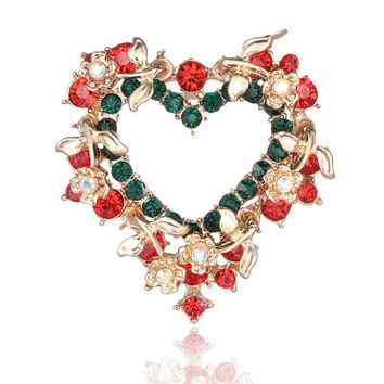 Christmas Brooch Heart-shaped Inlaid Rhinestone  Wreath Brooch Pin Crystal