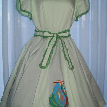 10-0722 Vintage 1960s Hand Painted Square Dance Dress / Hand Painted Kachina Dolls / Square Dance Dress / Lolita / Cosplay