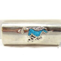 Vintage Silver Tone Turquoise Horse Mustang Animal Native American Bic Lighter Case Holder Cover Sleeve Smoking Collectible Metal Item