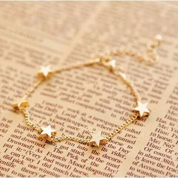 New Lady Girls Bangle Simple Gold Filled Chic Heart Trendy Stars Fine Chain Bracelet Cuff Jewelry Party #DQlyt